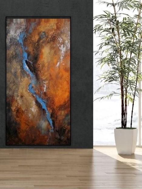 Mars Transformed Handmade Abstract Oil Painting | Brown Wall Art on Canvas - le d'ARTe