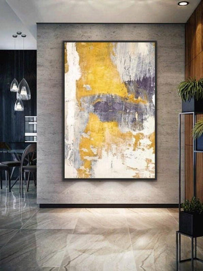 White and Golden Abstract Oil Painting | Canvas Wall Art - le d'Arte - hand painted artwork modern original