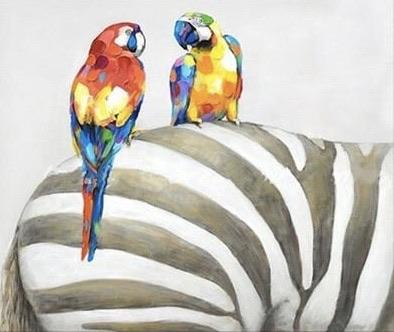 Safari Style Parrot on Zebra Oil Painting | Wall Art on Canvas - le d'Arte - hand painted artwork modern original