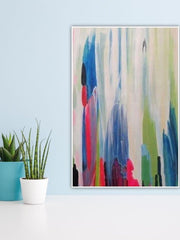 Woman With Flowers Awash in Color Abstract Acrylic Painting | Oil Wall Art on Canvas - le d'ARTe