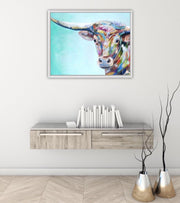 Colorful Animal Longhorn Cow / Bull Hand Painted Oil Wall Art | Canvas Painting - le d'Arte - hand painted artwork modern original