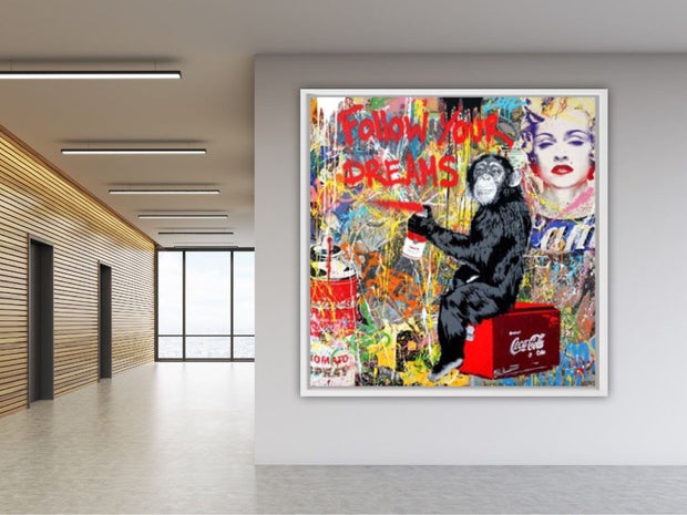 Pop Art Monkey Oil Painting on Canvas | Follow Your Dreams Wall Art - le d'Arte - hand painted artwork modern original