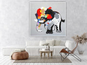 Abstract Elephant Painting With Bold Colors | Canvas Oil Painting - le d'Arte - hand painted artwork modern original