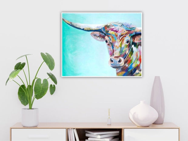 Colorful Animal Longhorn Cow / Bull Hand Painted Oil Wall Art | Canvas Painting - le d'ARTe
