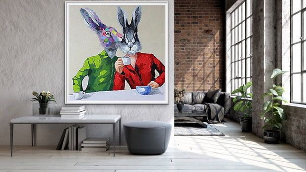 Funny Rabbit Palette Animal Wall Art | Oil Painting on Canvas - le d'Arte - hand painted artwork modern original