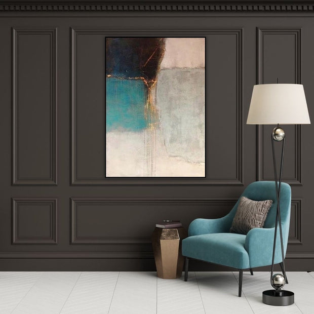 Gold Leaf on Black & White Abstract Wall Art | Canvas Painting - le d'Arte - hand painted artwork modern original