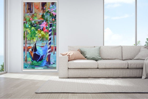 Flowers By the Venice Canals Abstract Oil Painting | Wall Art on Canvas - le d'Arte - hand painted artwork modern original