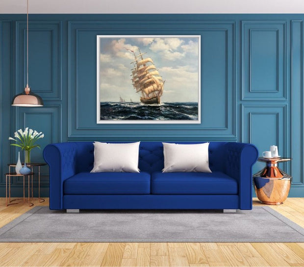 Seascape Battleship Oil Painting  | Sailing Boat Wall Art on Canvas - le d'Arte - hand painted artwork modern original