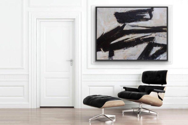Black and White Complicated Abstract Oil Painting| Wall Art on Canvas - le d'Arte - hand painted artwork modern original