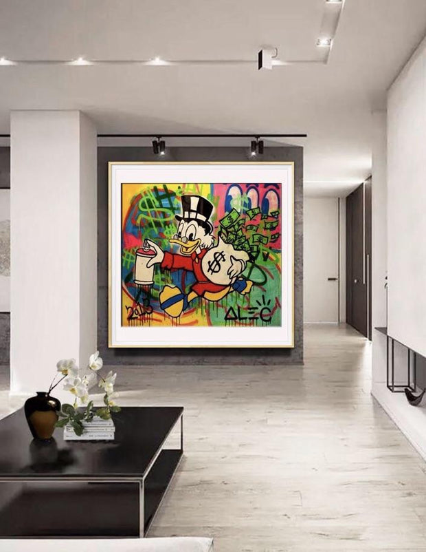 Graffiti Money Street Oil  Wall Art | Canvas Painting - le d'ARTe
