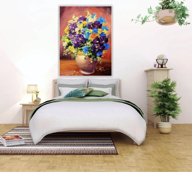 Abstract Flowers Hand Painted Wall Art | The Floral Gift Canvas Painting - le d'Arte - hand painted artwork modern original