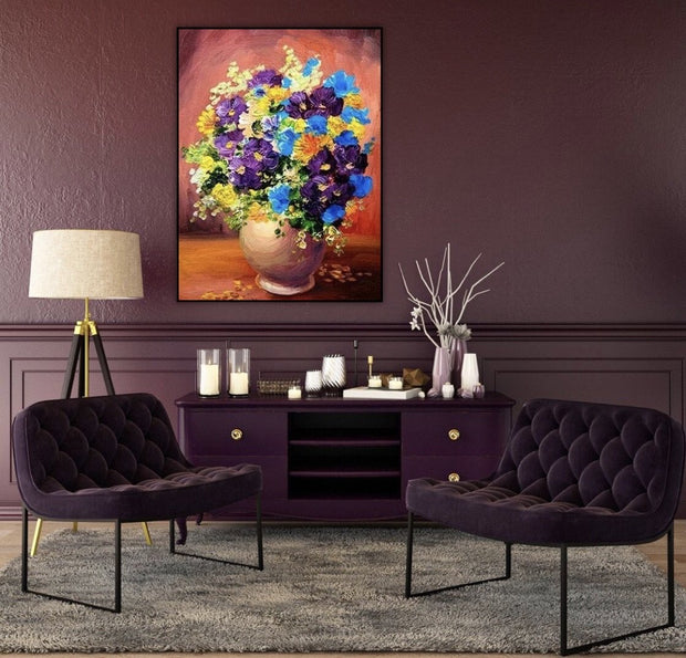 Abstract Flowers Hand Painted Wall Art | The Floral Gift Canvas Painting - le d'ARTe