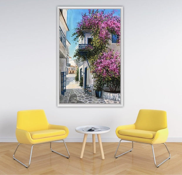 Afternoon Street Scene in the Mediterranean Oil Painting | Hand Painted Wall Art - le d'Arte - hand painted artwork modern original