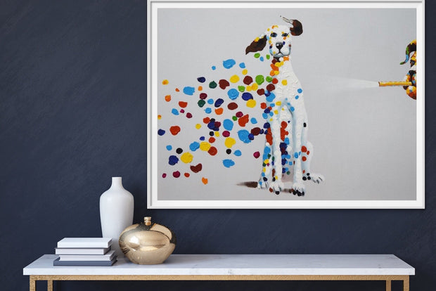 Dalmatian Dog Art Funny Dots Oil Wall Art | Canvas Hand Painted Painting - le d'Arte - hand painted artwork modern original