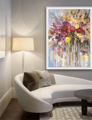 Flowers with Warm Colors Oil Abstract Wall Art | Canvas Painting - le d'Arte - hand painted artwork modern original
