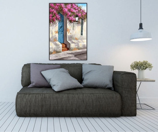 Flowers Upon a Wall in the Afternoon Wall Art on Canvas | Landscape Garden Oil Painting - le d'Arte - hand painted artwork modern original