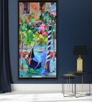 Flowers By the Venice Canals Abstract Oil Painting | Wall Art on Canvas - le d'ARTe