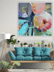 Woman With Parasol and Flowers Abstract Oil Painting  | Wall Art on Canvas - le d'Arte - hand painted artwork modern original