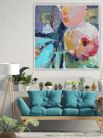 Woman With Parasol and Flowers Abstract Oil Painting  | Wall Art on Canvas - le d'ARTe