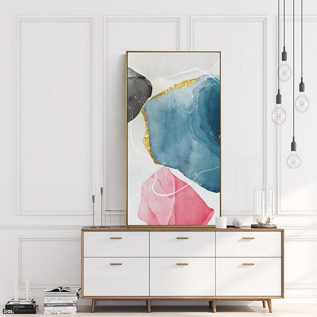 Vintage Pink Abstract Oil Painting | Canvas Wall Art - le d'Arte - hand painted artwork modern original
