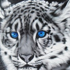 Blue Eyes Tiger Oil Painting on Canvas | Hand-painted White Tiger Wall Art - le d'Arte - hand painted artwork modern original