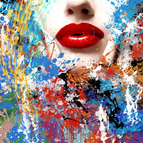 Graffiti Face Painting on Canvas | Hand Painted Woman Lips Pop Art - le d'ARTe