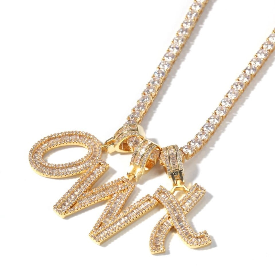 26 Letter Personalised Alphabet Letter Pendant Chain Plated Necklace WST
