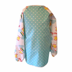 Pale Blue Dotty Smiley Face Messy Apron