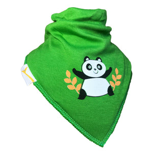 Bright Green Panda Bandana Bib