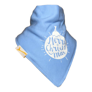 Light Blue Merry Christmas Bandana Bib