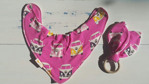 Pink Camper Bib & Teething Ring Set