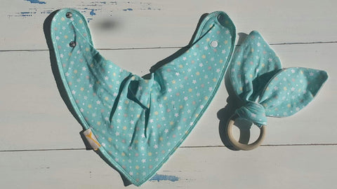 Teal Stars Bib & Teething Ring Set