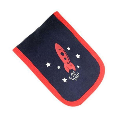 Blue & Red Rocket Burp Cloth