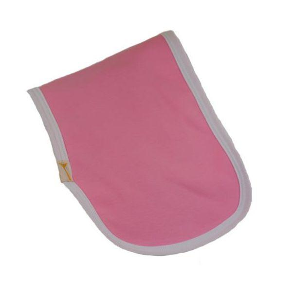 Pink & White Trim Plain Burp Cloth