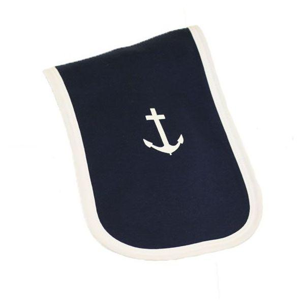 Navy & White Anchor Burp Cloth