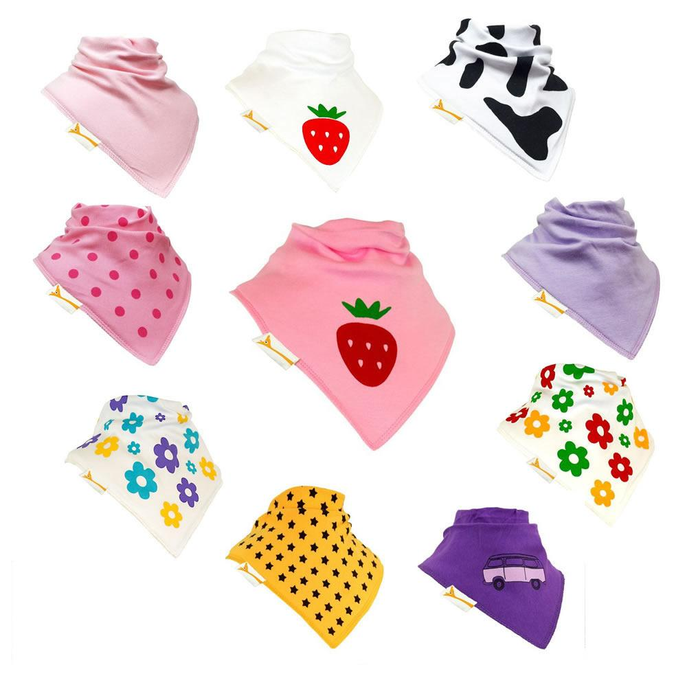 Strawberry Tea Set of Funky Giraffe Bandana Bibs (Set of 10)