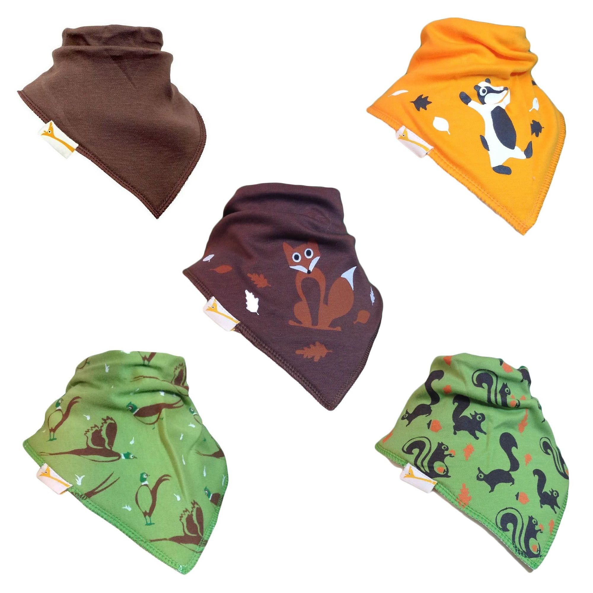 The Forest Friends Collection Set of Funky Giraffe Bandana Bibs (Set of 5)
