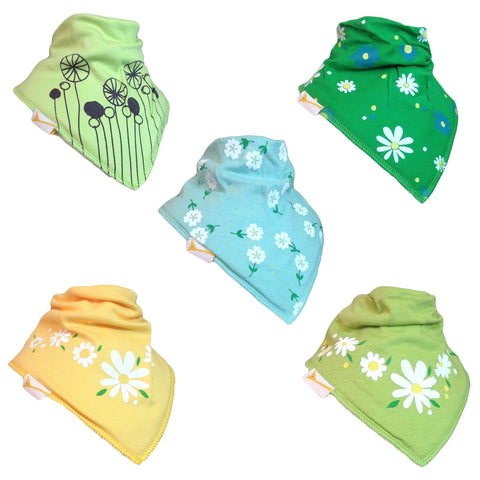 The Summer Flower Collection Set of Funky Giraffe Bandana Bibs (Set of 5)