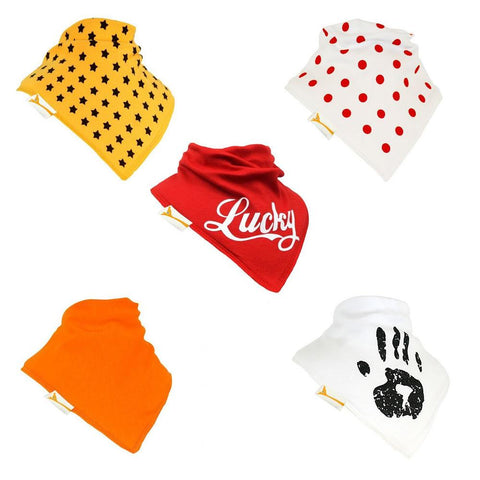 The Lucky set of Funky Giraffe Bandana Bibs (Set of 5)