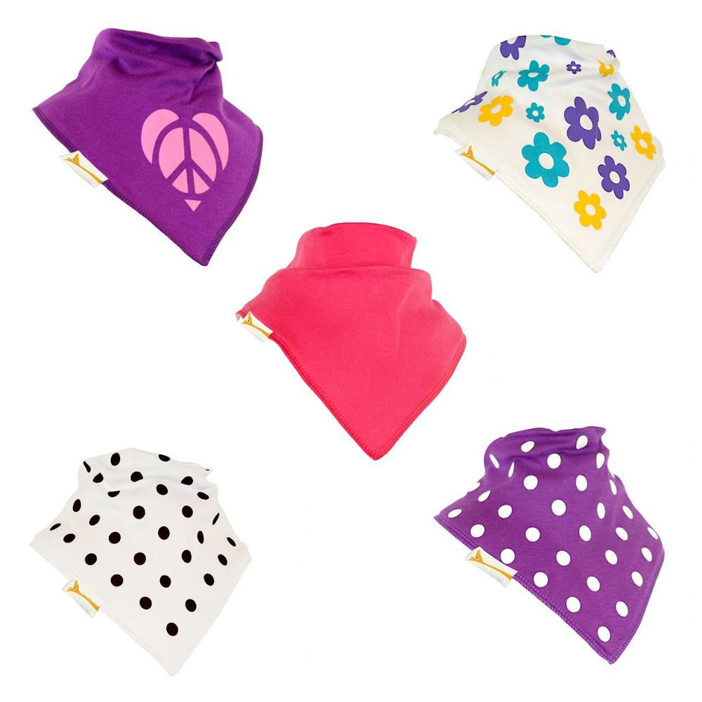 Purple and Pinks Set of Funky Giraffe Bandana Bibs (Set of 5)