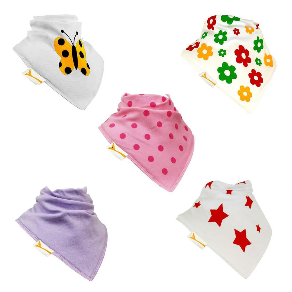 Girls Summer Set of Funky Giraffe Bandana Bibs (Set of 5)