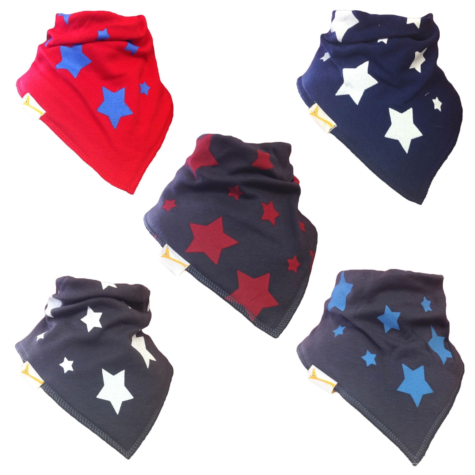 All Star Set of Funky Giraffe Bandana Bibs (Set of 5)