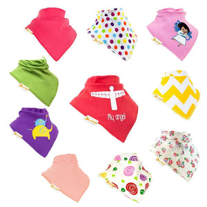 Angels & Roses Set of Funky Giraffe Bandana Bibs (Set of 10)