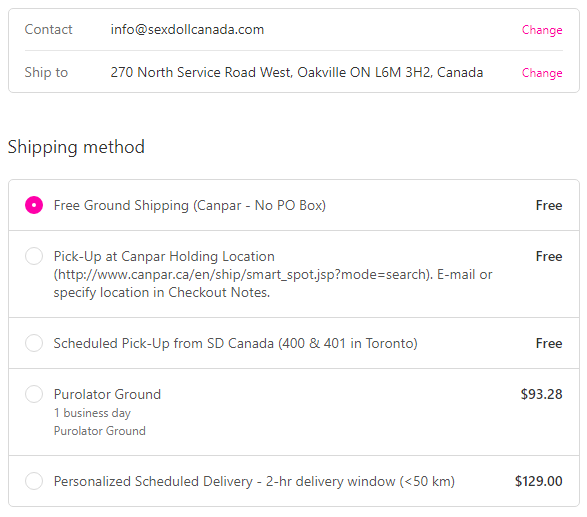Example Delivery Options - Standard Shipping to Oakville