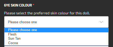 Dropdown List for Skin Colour