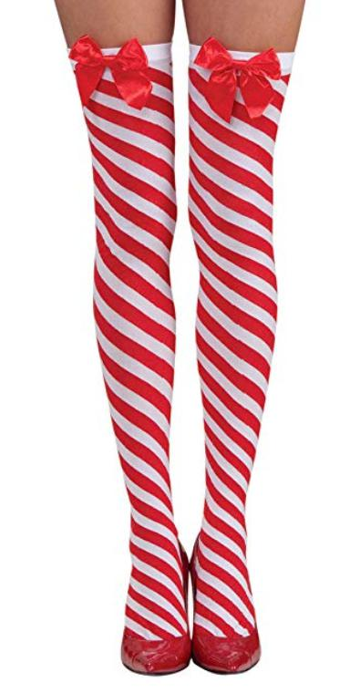 Real Sex Doll IN-STOCK - Clothing - Candy Cane Stockings with Red Satin Bow Life Size - Clothing - SD Canada