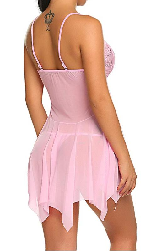 Real Sex Doll IN-STOCK - Clothing - Pink Babydoll Lingerie Outfit Life Size - Clothing - SD Canada