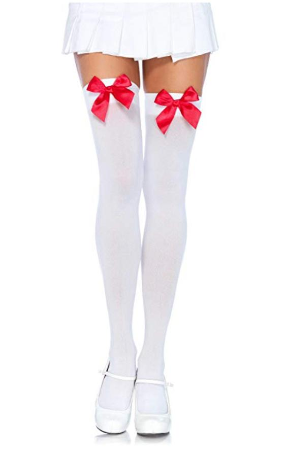 Real Sex Doll IN-STOCK - Clothing - White Stockings - Red Satin Bow Life Size - Clothing - SD Canada