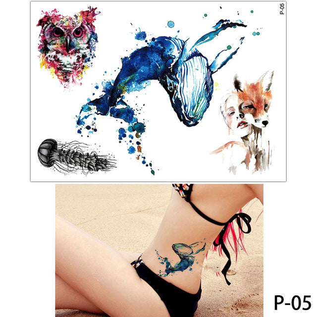 ee49405de ... Load image into Gallery viewer, 1x DIY Body Art Temporary Tattoo  Colorful Animals Watercolor Painting ...
