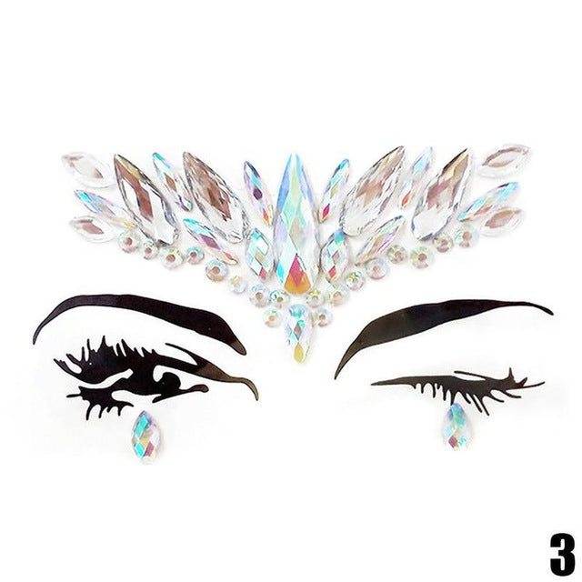 9fc1587af ... Load image into Gallery viewer, Adhesive Face Gems Rhinestone Temporary Tattoo  Jewels Festival Party Body ...